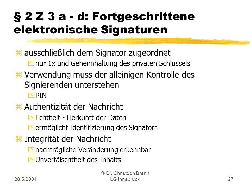 § 2 Z 3 a - d: Fortgeschrittene elektronische Signaturen