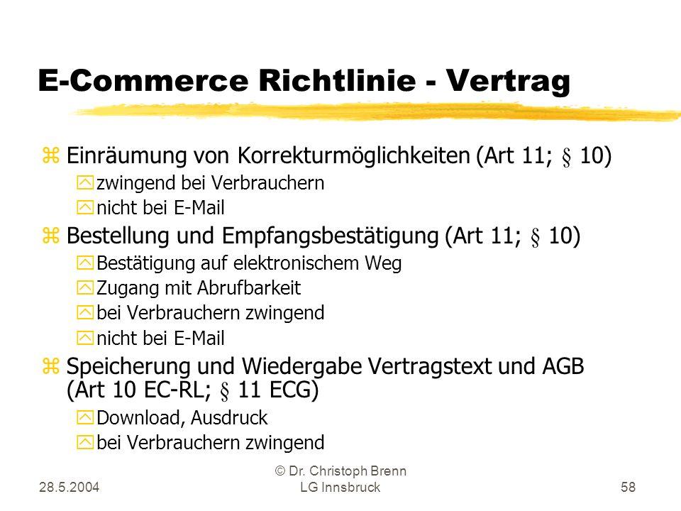 E-Commerce Richtlinie - Vertrag
