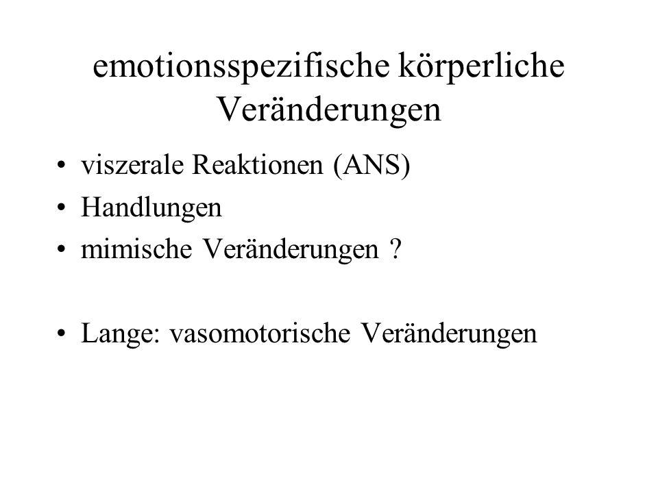 emotionsspezifische körperliche Veränderungen
