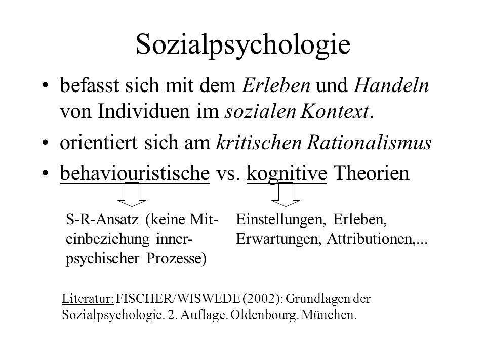 Sozialpsychologiebefasst sich mit dem Erleben und Handeln von Individuen im sozialen Kontext. orientiert sich am kritischen Rationalismus.