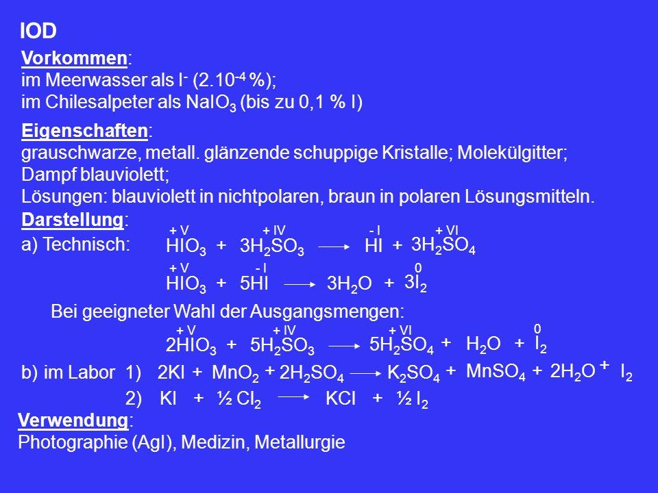 IOD Vorkommen: im Meerwasser als I- (2.10-4 %);