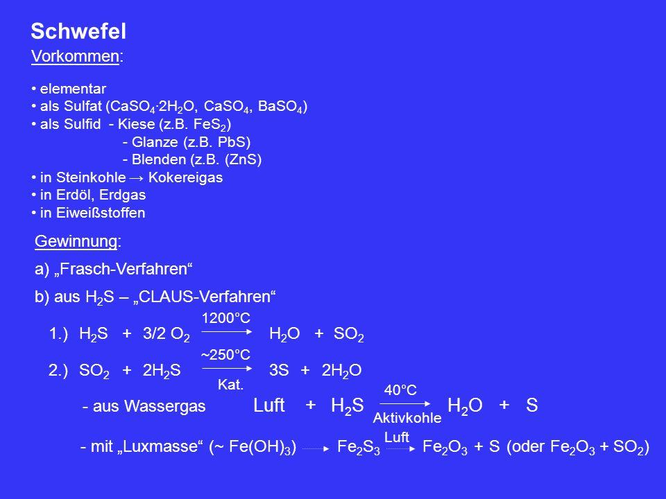 Schwefel Luft + H2S H2O + S Vorkommen: Gewinnung: