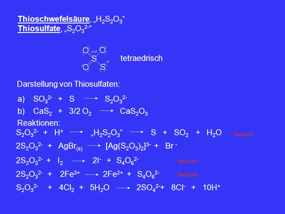 "Thioschwefelsäure, ""H2S2O3 Thiosulfate, ""S2O32-"