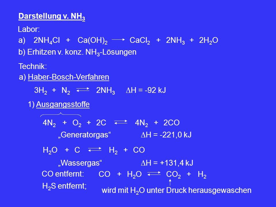 Darstellung v. NH3 Labor: a) 2NH4Cl. + Ca(OH)2. CaCl2. + 2NH3. + 2H2O. b) Erhitzen v. konz. NH3-Lösungen.