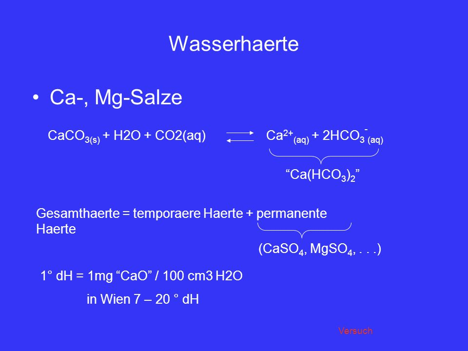 Wasserhaerte Ca-, Mg-Salze CaCO3(s) + H2O + CO2(aq)