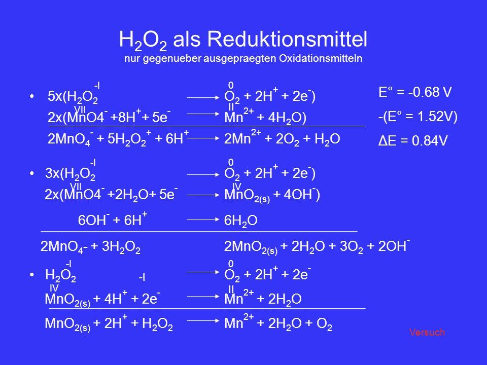 H2O2 als Reduktionsmittel nur gegenueber ausgepraegten Oxidationsmitteln