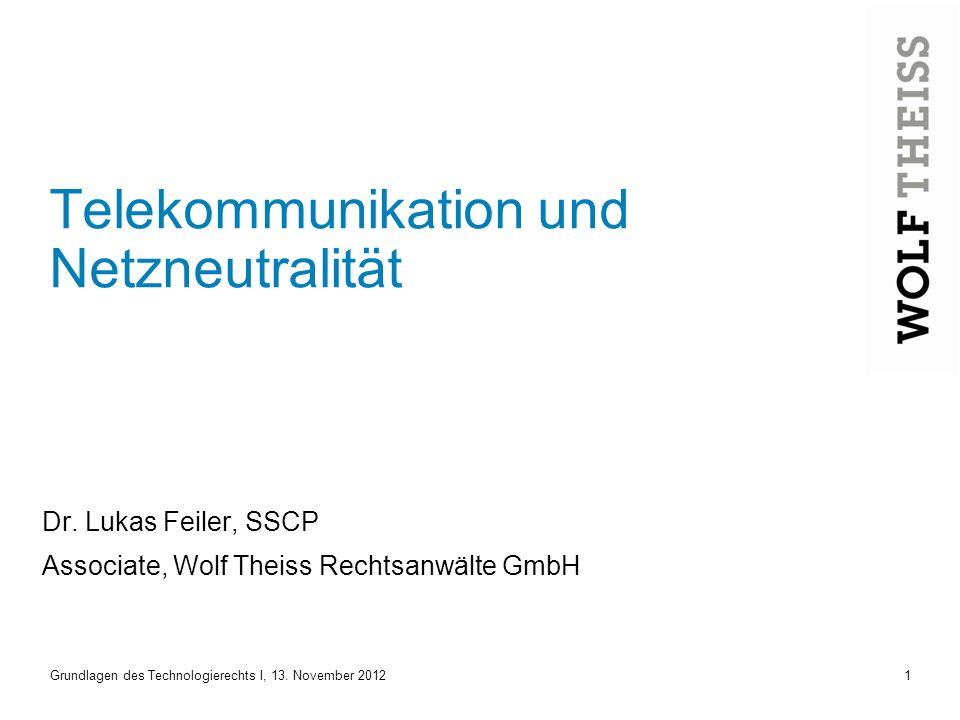 Telekommunikation und Netzneutralität