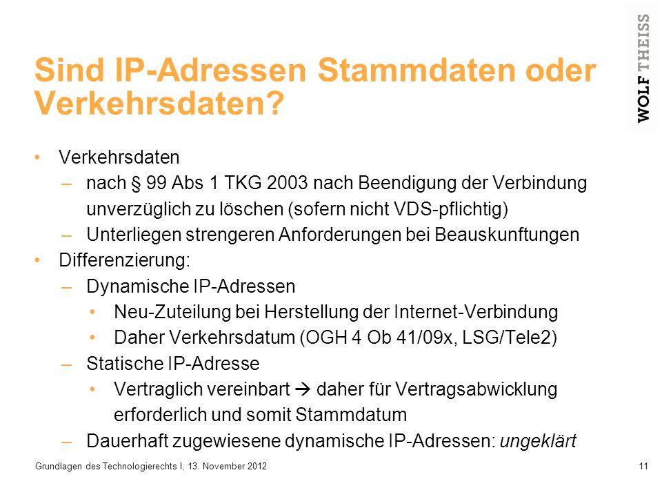 Sind IP-Adressen Stammdaten oder Verkehrsdaten