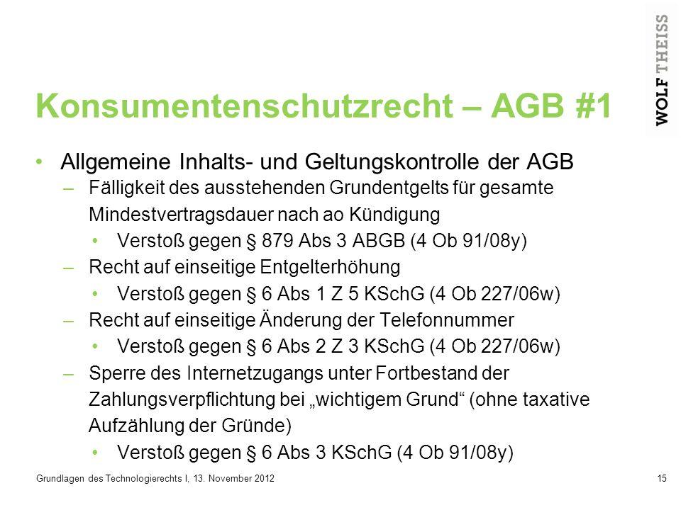 Konsumentenschutzrecht – AGB #1