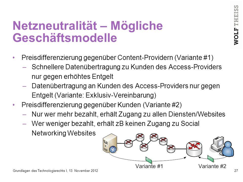 Netzneutralität – Mögliche Geschäftsmodelle