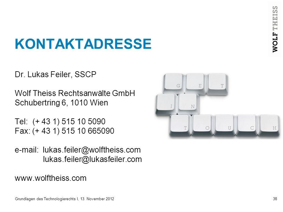 KONTAKTADRESSE Dr. Lukas Feiler, SSCP Wolf Theiss Rechtsanwälte GmbH