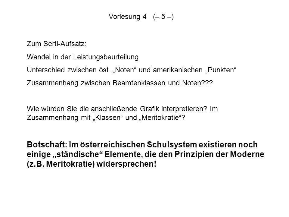 """Vorlesung 4 (– 5 –)Zum Sertl-Aufsatz: Wandel in der Leistungsbeurteilung. Unterschied zwischen öst. """"Noten und amerikanischen """"Punkten"""