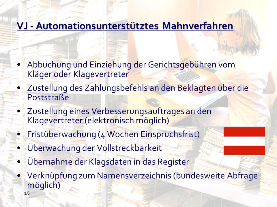 VJ - Automationsunterstütztes Mahnverfahren