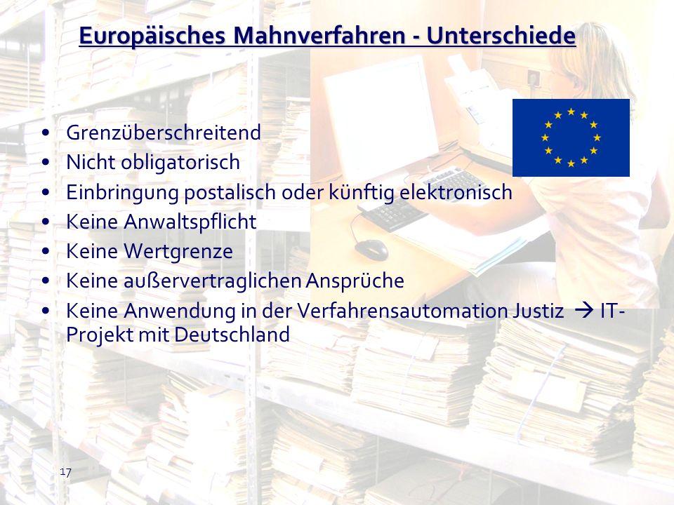 Europäisches Mahnverfahren - Unterschiede