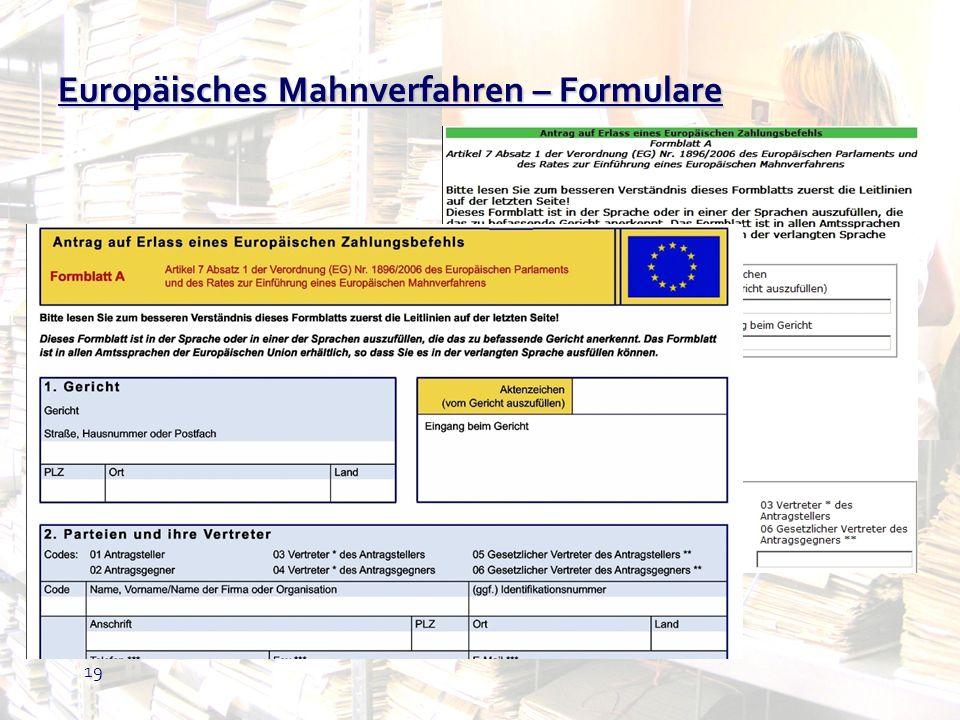 Europäisches Mahnverfahren – Formulare