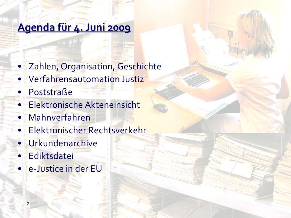 Agenda für 4. Juni 2009 Zahlen, Organisation, Geschichte