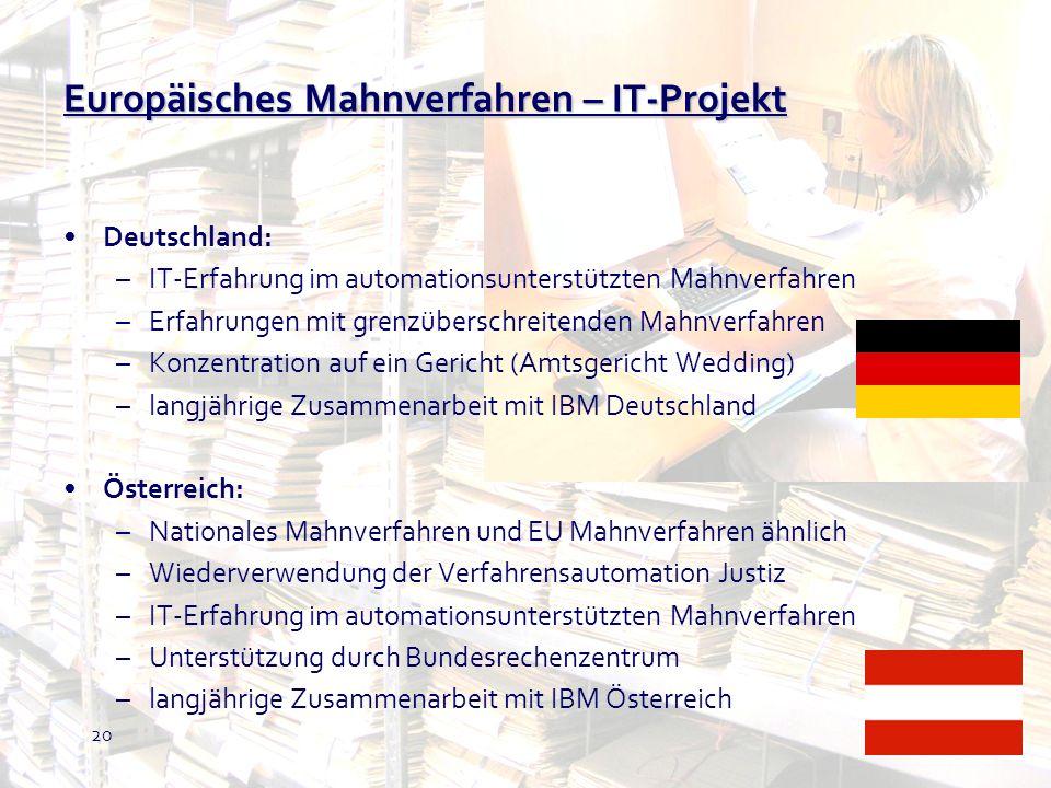 Europäisches Mahnverfahren – IT-Projekt