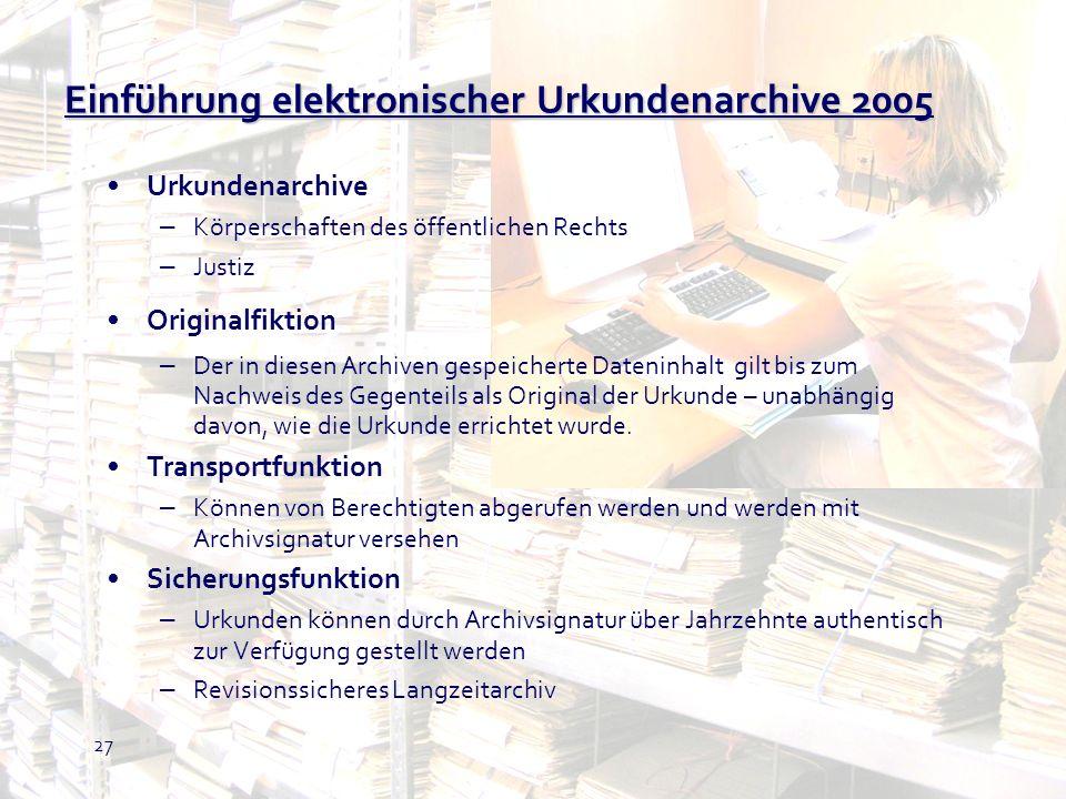 Einführung elektronischer Urkundenarchive 2005