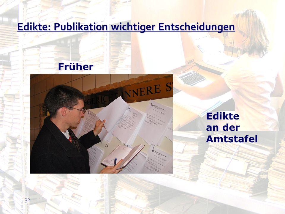 Edikte: Publikation wichtiger Entscheidungen