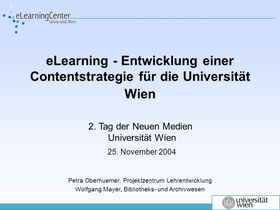 eLearning - Entwicklung einer Contentstrategie für die Universität Wien