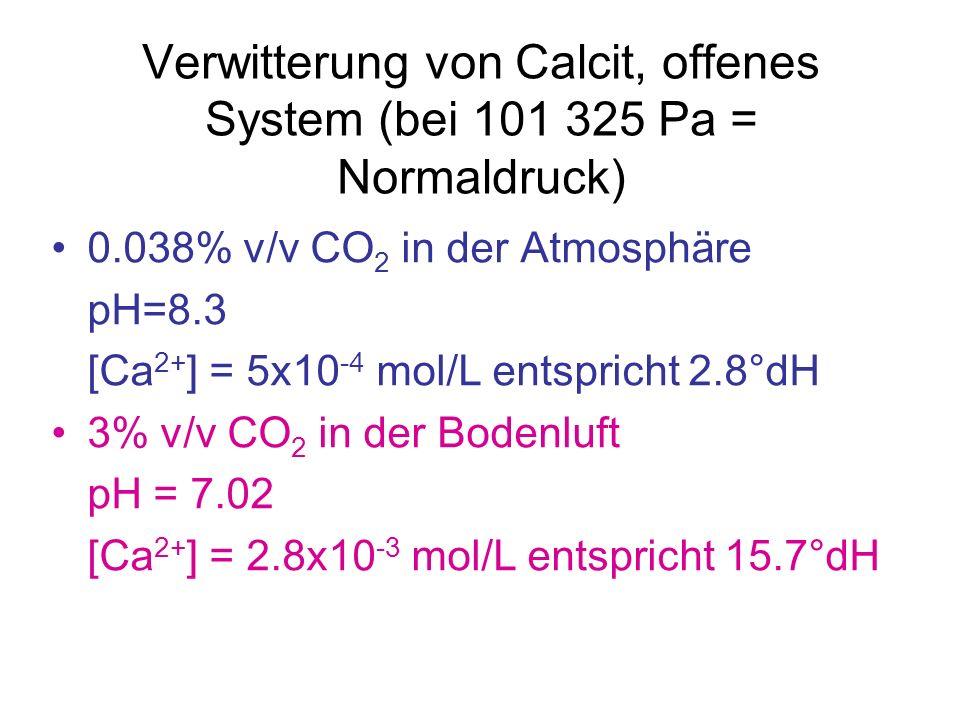 Verwitterung von Calcit, offenes System (bei 101 325 Pa = Normaldruck)