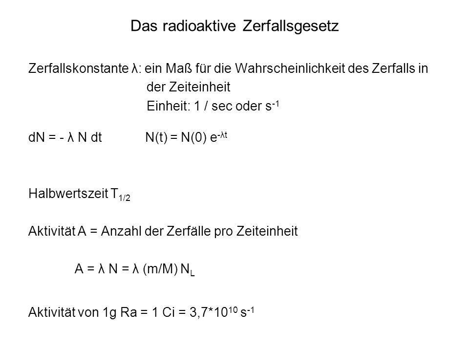 Das radioaktive Zerfallsgesetz
