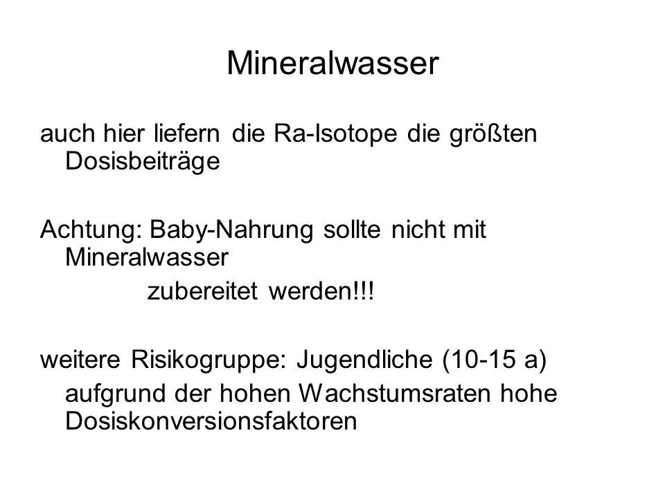 Mineralwasser auch hier liefern die Ra-Isotope die größten Dosisbeiträge. Achtung: Baby-Nahrung sollte nicht mit Mineralwasser.
