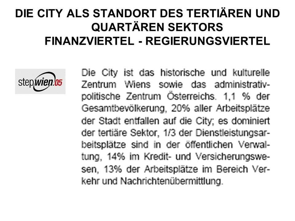 DIE CITY ALS STANDORT DES TERTIÄREN UND QUARTÄREN SEKTORS FINANZVIERTEL - REGIERUNGSVIERTEL
