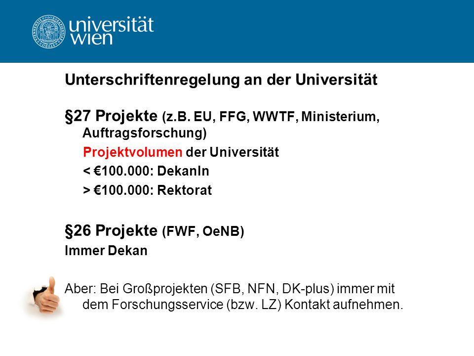 Unterschriftenregelung an der Universität