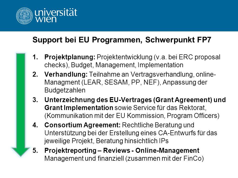 Support bei EU Programmen, Schwerpunkt FP7