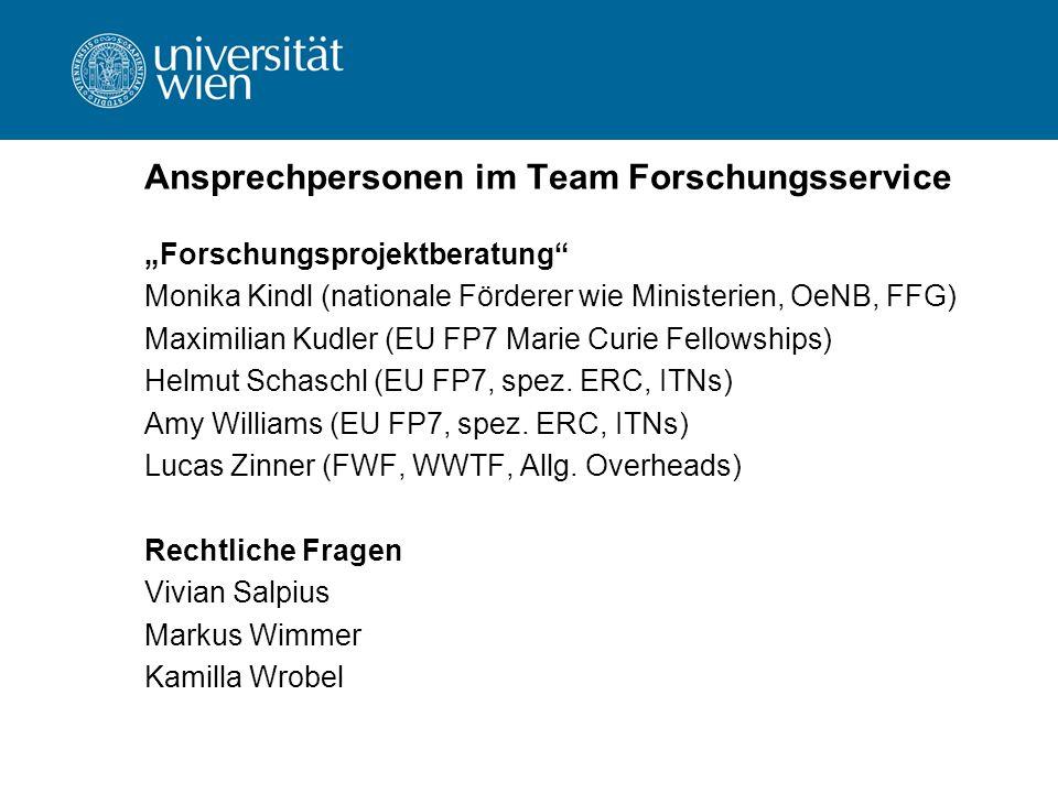 Ansprechpersonen im Team Forschungsservice