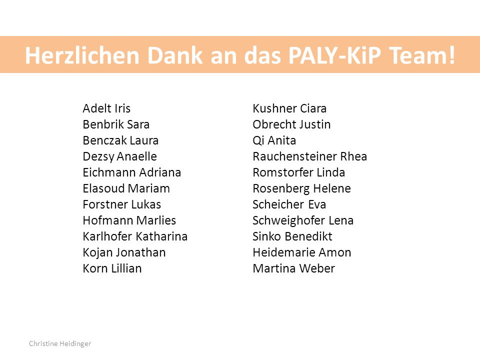 Herzlichen Dank an das PALY-KiP Team!