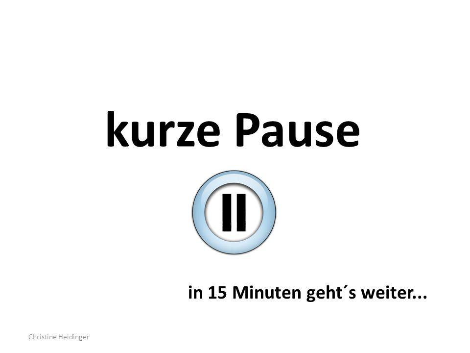 kurze Pause in 15 Minuten geht´s weiter... Christine Heidinger