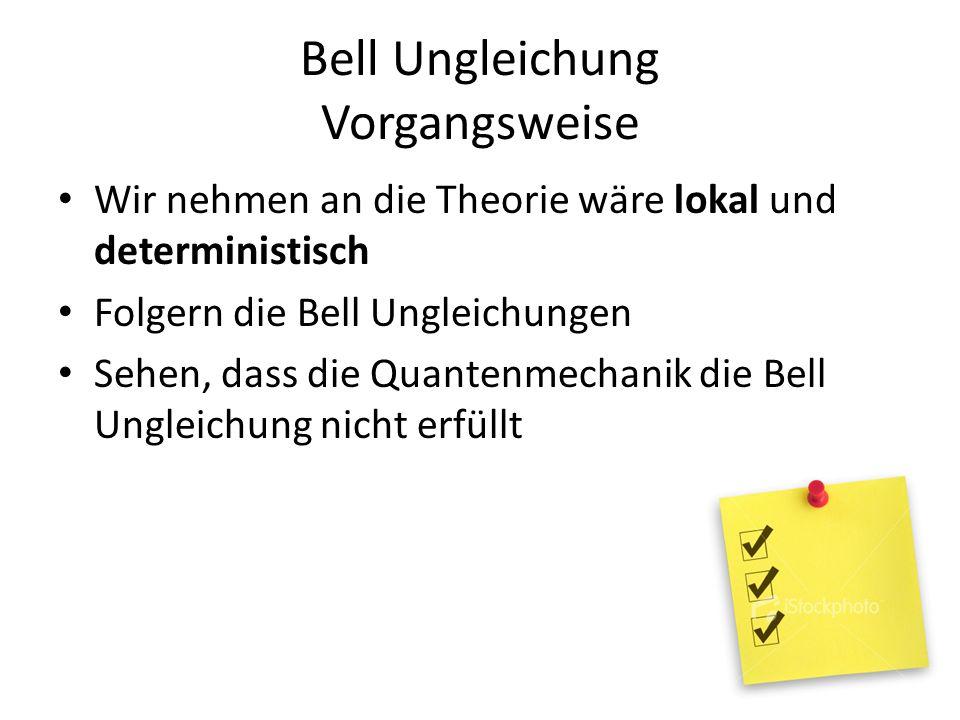 Bell Ungleichung Vorgangsweise