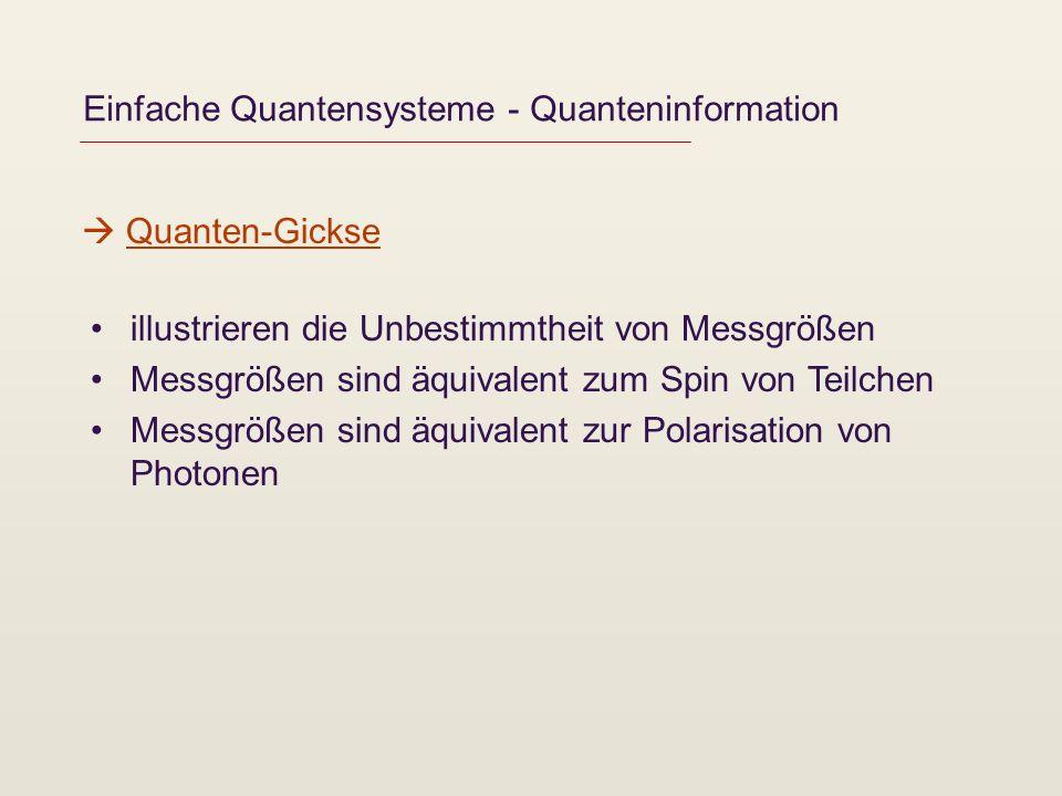 Einfache Quantensysteme - Quanteninformation