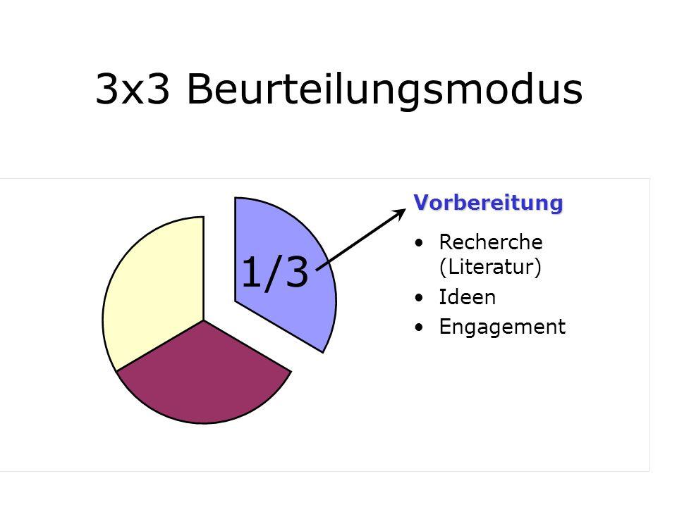 3x3 Beurteilungsmodus 1/3 Vorbereitung Recherche (Literatur) Ideen