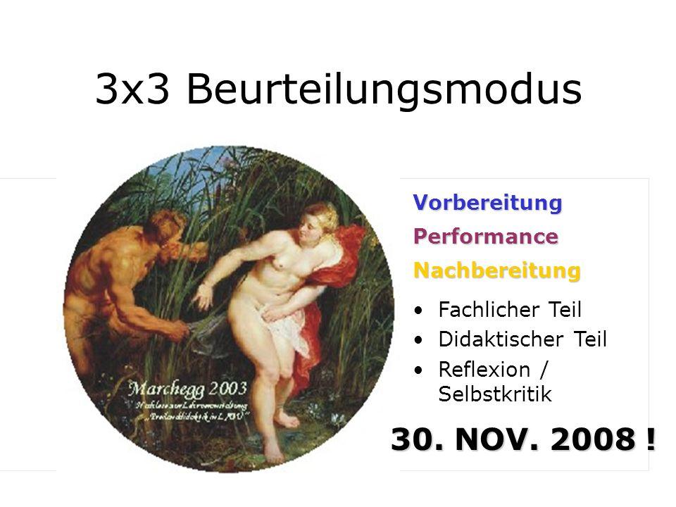 3x3 Beurteilungsmodus 1/3 30. NOV. 2008 ! Vorbereitung Performance