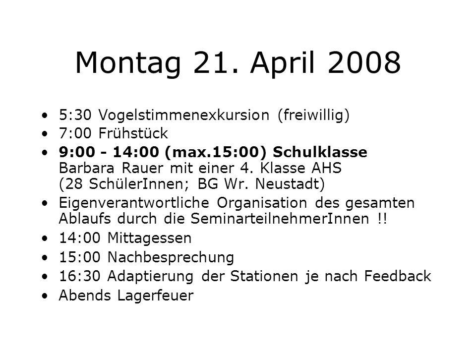 Montag 21. April 2008 5:30 Vogelstimmenexkursion (freiwillig)