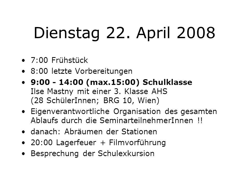 Dienstag 22. April 2008 7:00 Frühstück 8:00 letzte Vorbereitungen