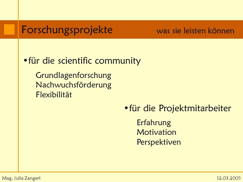 Forschungsprojekte für die scientific community