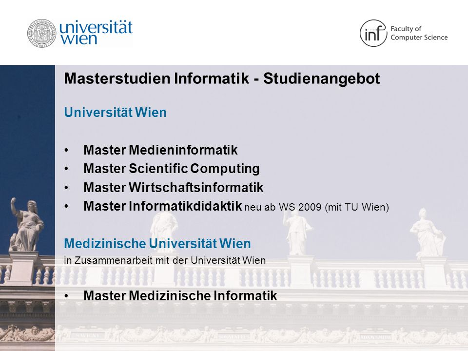Masterstudien Informatik - Studienangebot