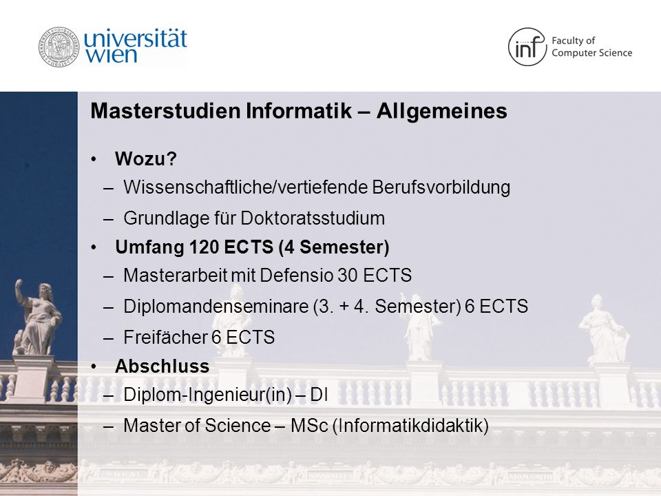 Masterstudien Informatik – Allgemeines