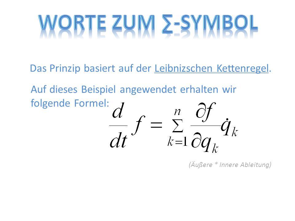 Worte zum ∑-Symbol Das Prinzip basiert auf der Leibnizschen Kettenregel. Auf dieses Beispiel angewendet erhalten wir folgende Formel: