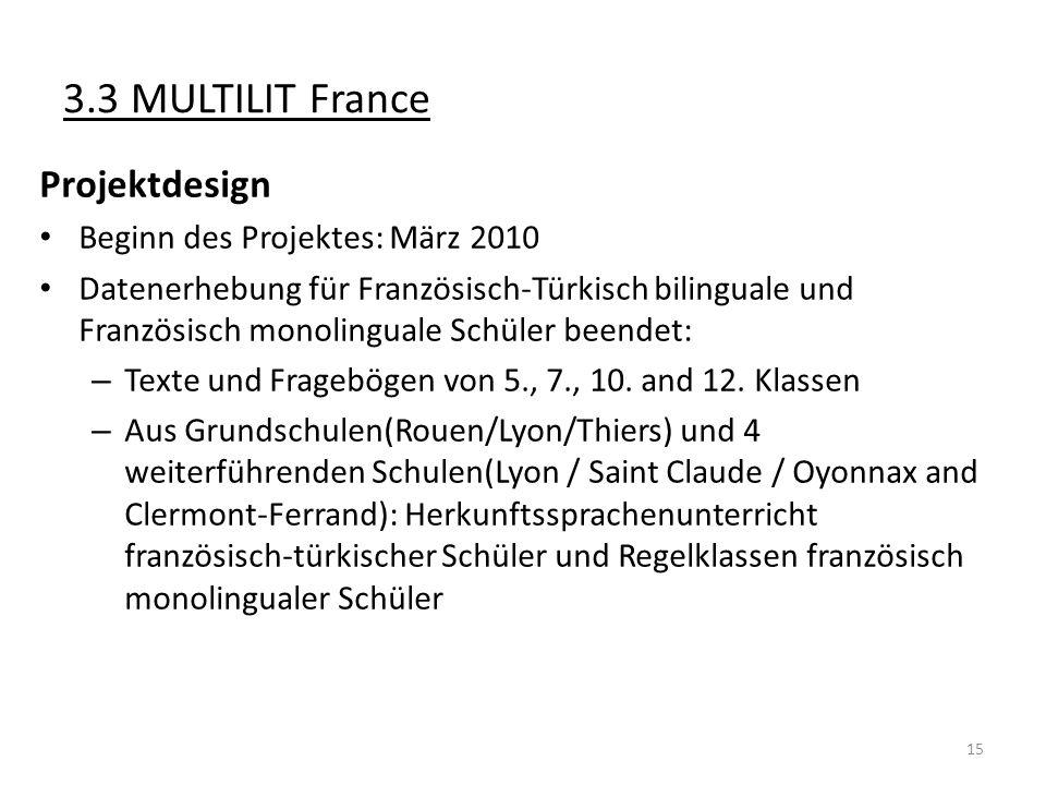 3.3 MULTILIT France Projektdesign Beginn des Projektes: März 2010