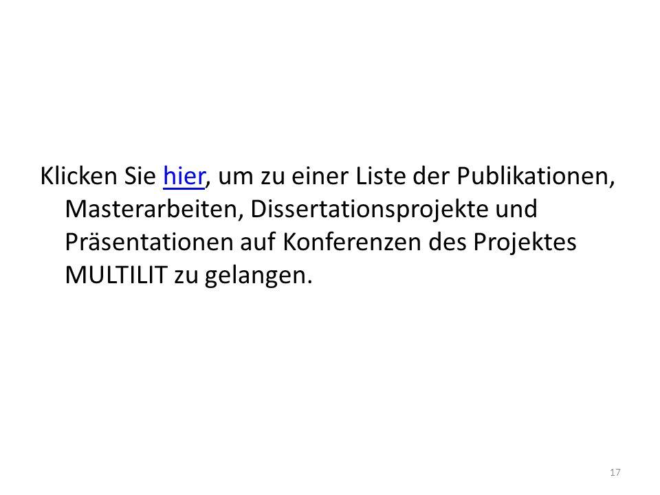 Klicken Sie hier, um zu einer Liste der Publikationen, Masterarbeiten, Dissertationsprojekte und Präsentationen auf Konferenzen des Projektes MULTILIT zu gelangen.