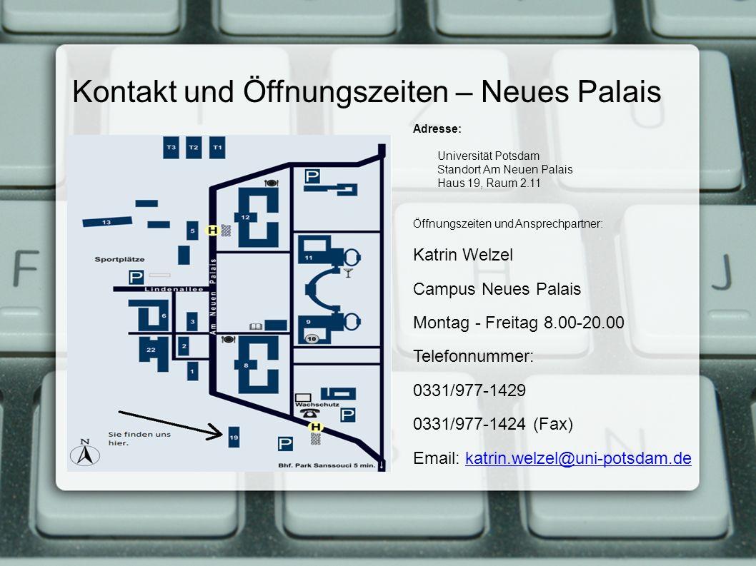 Kontakt und Öffnungszeiten – Neues Palais