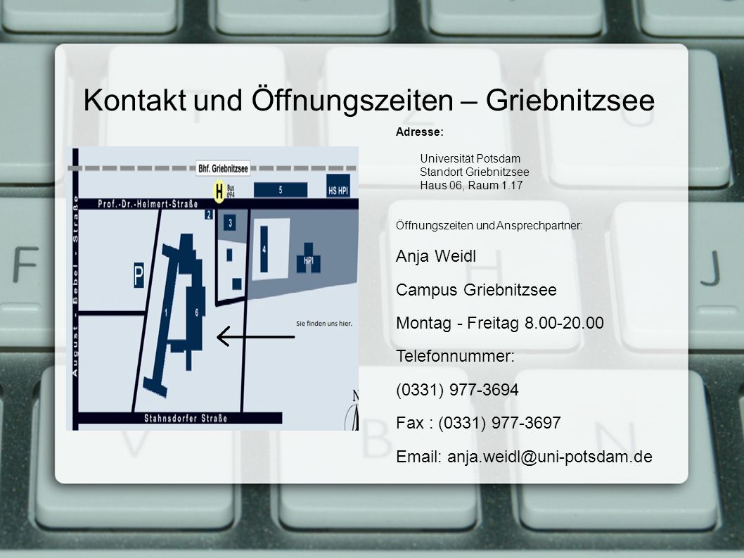 Kontakt und Öffnungszeiten – Griebnitzsee