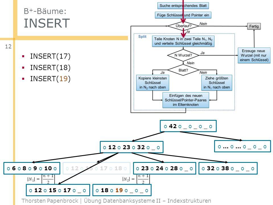 B+-Bäume: INSERT INSERT(17) INSERT(18) INSERT(19) o 42 o _ o _ o _ o