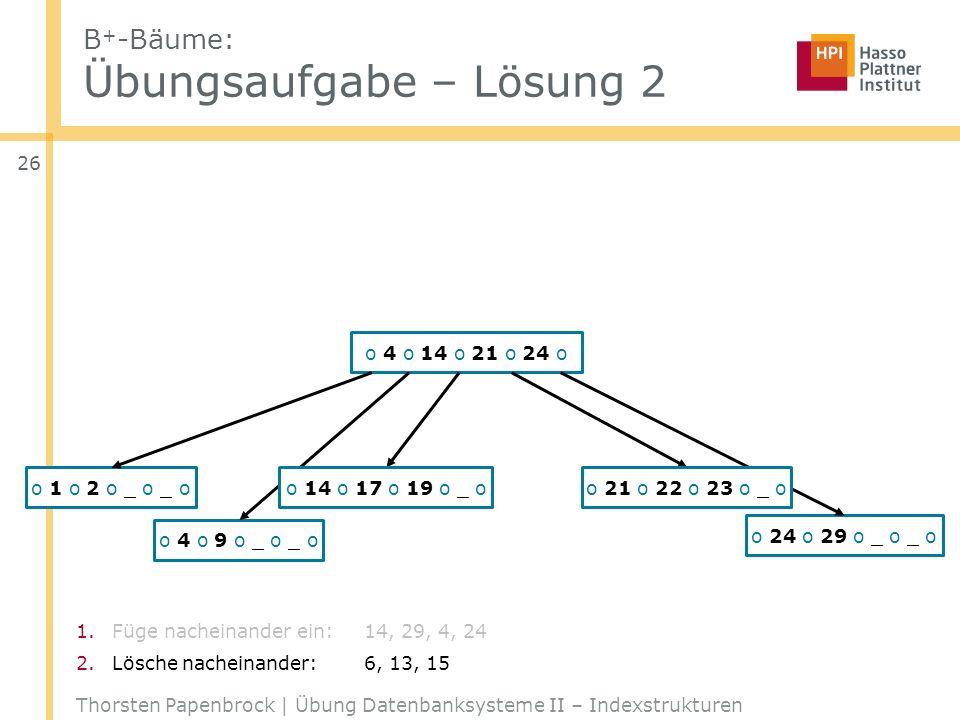 B+-Bäume: Übungsaufgabe – Lösung 2