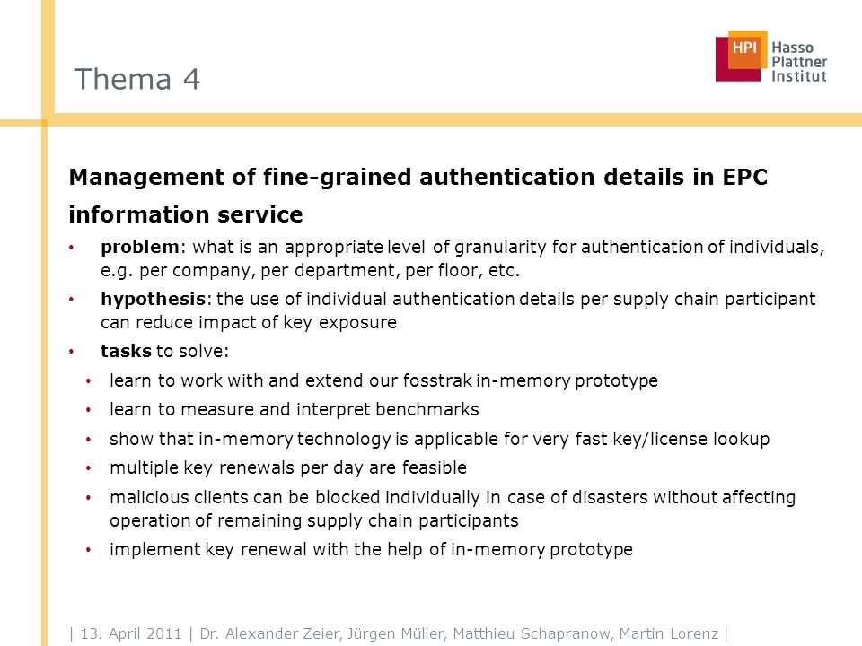 Thema 5 History-based access control for EPC information services